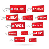 Months of the Year Red Sale Paper Labels, Tags Set — Stock Vector