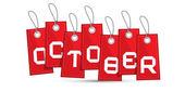 Ekim kırmızı indirimli satış kağıt etiket, dizeleri ile etiket — Stok Vektör