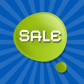 Vector Green Sale Bubble Icon on Blue Backgound — Stock Vector