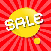 Vector Yellow Sale Bubble Icon on Red Backgound — Stock Vector