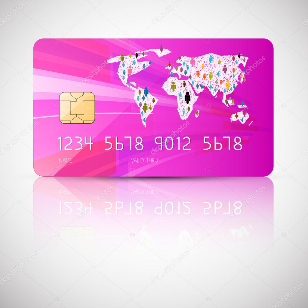 Pink Vector Credit Card Illustration Isolated On Grey