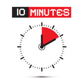 Ten Minutes Stop Watch - Clock Vector Illustration — Stok Vektör