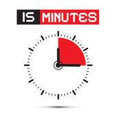 Fifteen Minutes Stop Watch - Clock Vector Illustration — Stock Vector