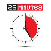 Twenty Five Minutes Stop Watch - Clock Vector Illustration — Stock Vector