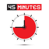 Forty Five Minutes Stop Watch - Clock Vector Illustration — Stock Vector