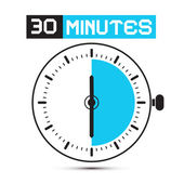Dertig minuten stopwatch - klok vectorillustratie — Stockvector