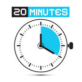 Twenty Minutes Stop Watch - Clock Vector Illustration — Stock Vector