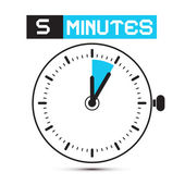 Five Minutes Stop Watch - Clock Vector Illustration — Stock Vector