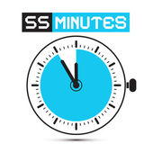 Fifty Five Minutes Stop Watch - Clock Vector Illustration — Stock Vector