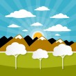 Paper Vector Nature Background with Trees, Clouds and Sun — Stock Vector #45764443