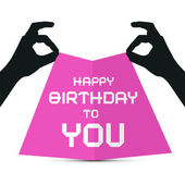 Hands Silhouette holding Pink Paper with Happy Birthday to You Title — Stok Vektör