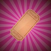 Empty Ticket Illustration on Retro Pink Background — Vector de stock