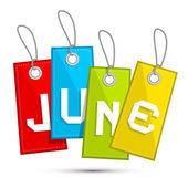 Haziran renkli indirimli satış kağıt etiket, dizeleri ile etiket — Stok Vektör