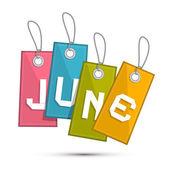 Haziran retro indirimli satış kağıt etiket, dizeleri ile etiket — Stok Vektör