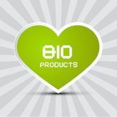 Love Bio Products Theme with Green Paper Heart on Retro Background — Stock Vector