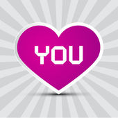 Love You Theme with Purple Paper Heart on Retro Background — Stock Vector