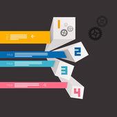 Four Vector Progress Steps for Tutorial, Modern 3d Infographics Layout — Vecteur