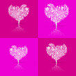 Abstract Vector Heart-Shaped Tree Set on Violet and Pink Background — Stock Vector