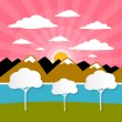 Paper Vector Nature Background with Trees, River - Lake, Clouds and Sun — Stock Vector #46113577