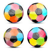 Colorful Vector Football Balls Set Illustration — Stock Vector