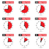 Five to Forty Five Minutes Stop Watch Illustration — Stock Vector
