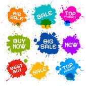 Colorful Vector Grunge Sale Splash Blots Icons — Stock Vector