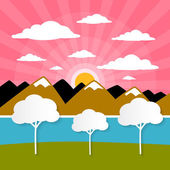 Paper Vector Nature Background with Trees, River - Lake, Clouds and Sun — Stock Vector
