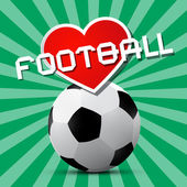 Voetbal liefdesthema op retro groene achtergrond — Stockvector