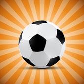 Football Ball on Orange Retro Background — Stok Vektör