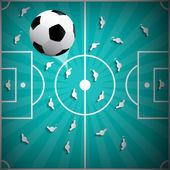 Football Ball Above Playground Background - Retro Illustration — Stock Vector