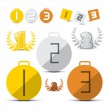 Gold, Silver, Bronze - First, Second and Third Place Vector Medals - Icons Set — Stock Vector
