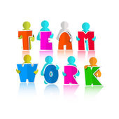 Team Title with Paper Cut People — Stockvector