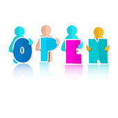 Open Title with Colorful Paper Cut People — Stockvector