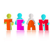 Team Title with Paper Cut People — Vector de stock