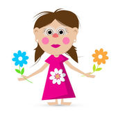 Girl with Flowers Vector Illustration — Stock Vector