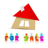 House For Sale Paper Icon Isolated on White Background — Stock Vector