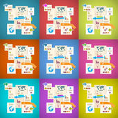 Colorful Vector Infographics Paper Layout Set Illustration — Stock Vector