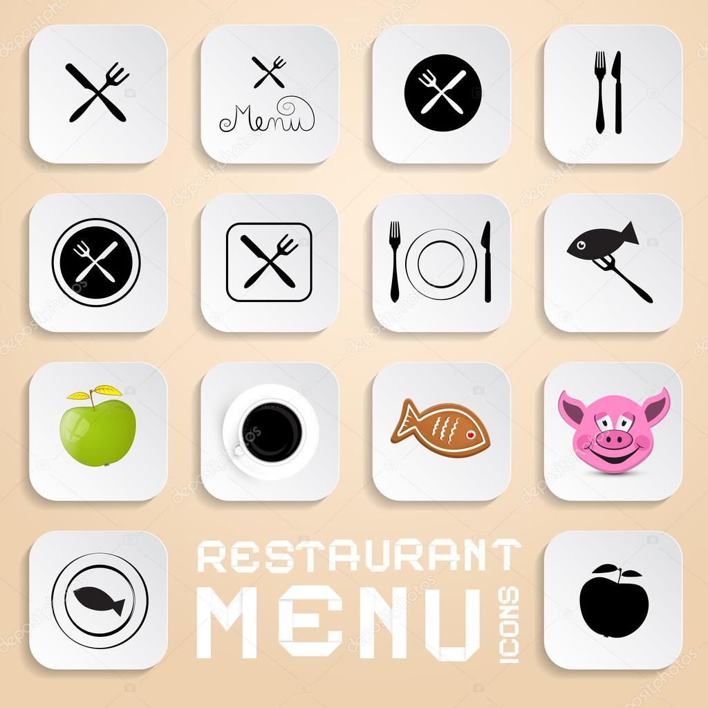 Vector restaurant menu icons design elements