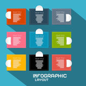 Vector Paper Infographics Template - Layout on Blue Background — Stockvektor