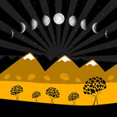 Moon Phases - Night Landscape with Trees — Stock Vector