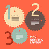 Three Steps Retro Paper Vector Infographics Flat Design Layout — Stock Vector