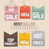 Colorful Retro Paper Sale Labels, Tags Set - Vector — Stock Vector