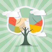 Retro Paper Tree Illustration with Clouds — Stock Vector