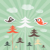 Retro Paper Forest and Birds Vector Illustration — Stock Vector