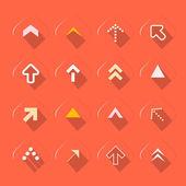 Flat Design Arrows Set Vector Illustration on Red Background — Stock Vector