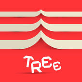 Paper Tree Vector Symbol on Red Background — Stock Vector