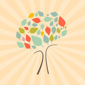 Abstract Vector Retro Tree Illustration — Vector de stock