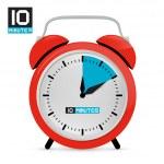 Ten 10 Minutes Red Alarm Clock Vector Illustration — Stock Vector #47874957