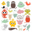 Colorful Simple Vector Animals Silhouette Set — Stock Vector #48265925
