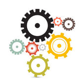Cogs - Gears Vector Illustration Isolated on White Background — Stock Vector